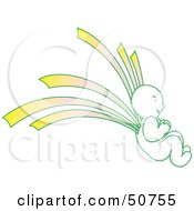 Royalty Free RF Clipart Illustration Of A Green And Yellow Asian Angel by Cherie Reve