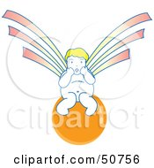 Royalty Free RF Clipart Illustration Of A Surprised Asian Angel Sitting On An Orange Ball by Cherie Reve