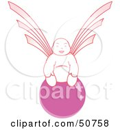 Royalty Free RF Clipart Illustration Of A Pink Asian Angel On A Pink Ball by Cherie Reve