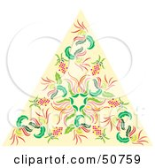 Royalty Free RF Clipart Illustration Of A Pale Orange Triangle With Floral Patterns