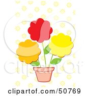 Royalty Free RF Clipart Illustration Of Three Flowers In A Pot by Cherie Reve