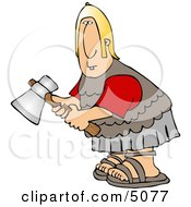 Roman Army Soldier Holding An Axe