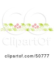 Royalty Free RF Clipart Illustration Of A Bamboo Stalk And Pink Flower Header by Cherie Reve