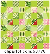 Royalty Free RF Clipart Illustration Of A Green Background Pattern Of Flowers And Bamboo by Cherie Reve
