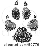 Royalty Free RF Clipart Illustration Of A Black And White Inkblot Dog Animal Paw Print