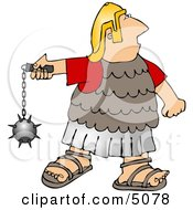 Roman Army Soldier Battling With A Ball And Chain Mace Weapon Clipart by djart
