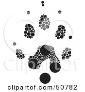Royalty Free RF Clipart Illustration Of A Black And White Inkblot Otter Animal Paw Print