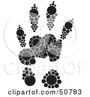 Royalty Free RF Clipart Illustration Of A Black And White Inkblot Grey Squirrel Animal Paw Print