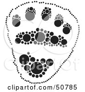 Royalty Free RF Clipart Illustration Of A Black And White Inkblot Bear Animal Paw Print by Cherie Reve