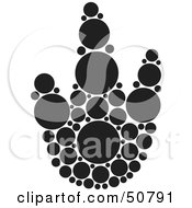 Royalty Free RF Clipart Illustration Of A Black And White Inkblot Stork Animal Paw Print