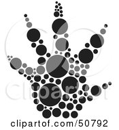 Royalty Free RF Clipart Illustration Of A Black And White Inkblot Raccoon Animal Paw Print