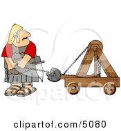 Roman Army Soldier Firing Projectiles From A Catapult