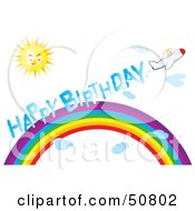 Royalty Free RF Clipart Illustration Of A Plane Leaving A Happy Birthday Smoke Trail Over A Rainbow On A Sunny Day by Cherie Reve