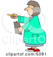 Female Scientist Holding Pencil And Clipboard Clipart