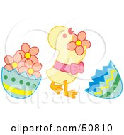Royalty Free RF Clipart Illustration Of A Happy Baby Chick Dancing Between Egg Shells by Cherie Reve