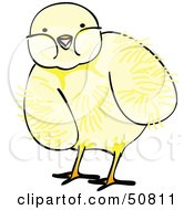 Royalty Free RF Clipart Illustration Of A Fluffy Yellow Spring Chick Version 6 by Cherie Reve