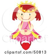 Royalty Free RF Clipart Illustration Of A Happy Crowned Angel Floating On A Heart by Cherie Reve