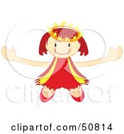 Royalty Free RF Clipart Illustration Of A Happy Crowned Angel Holding Her Arms Out by Cherie Reve
