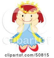 Royalty Free RF Clipart Illustration Of A Happy Crowned Angel Smiling
