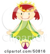 Royalty Free RF Clipart Illustration Of A Happy Crowned Angel Ballerina by Cherie Reve