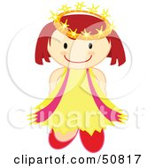 Royalty Free RF Clipart Illustration Of A Happy Crowned Angel Holding Her Arms Behind Her Back by Cherie Reve