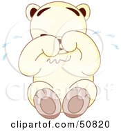 Royalty Free RF Clipart Illustration Of A Sad White Teddy Bear Sitting And Crying by Cherie Reve