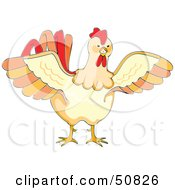 Royalty Free RF Clipart Illustration Of An Aggressive Cock Spreading Its Wings by Cherie Reve