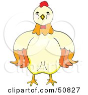 Royalty Free RF Clipart Illustration Of A Stern Hen Facing Front by Cherie Reve