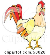 Royalty Free RF Clipart Illustration Of A Curious Rooster by Cherie Reve