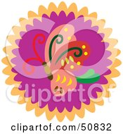 Royalty Free RF Clipart Illustration Of A Decorative Butterfly Circle Version 2 by Cherie Reve