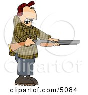 Uneasy Man Pointing A Loaded Shotgun At Someone Clipart by djart