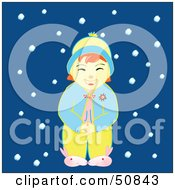 Royalty Free RF Clipart Illustration Of A Happy Little Girl Wearing Her Pajamas In The Snow