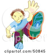 Royalty Free RF Clipart Illustration Of A Little Boy Stepping Forward by Cherie Reve