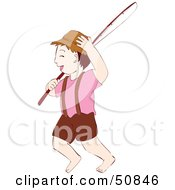 Royalty Free RF Clipart Illustration Of A Barefoot Boy Carrying A Fishing Pole by Cherie Reve