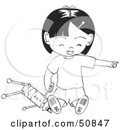 Royalty Free RF Clipart Illustration Of A Black And White Girl Playing With A Toy Pointing And Laughing by Cherie Reve