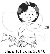Royalty Free RF Clipart Illustration Of A Friendly Black And White Girl Pointing A Nd Playing With A Toy by Cherie Reve