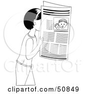 Royalty Free RF Clipart Illustration Of A Black And White Girl Reading A Newspaper by Cherie Reve