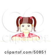 Royalty Free RF Clipart Illustration Of A Patient Little Girl Sitting Proudly At A Table by Cherie Reve