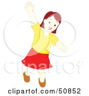 Royalty Free RF Clipart Illustration Of A Little Girl Running And Waving by Cherie Reve