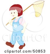 Royalty Free RF Clipart Illustration Of A Little Girl Carrying A Fishing Net by Cherie Reve