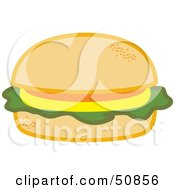 Royalty Free RF Clipart Illustration Of A Fast Food Cheeseburger With Lettuce On A Bun by Cherie Reve