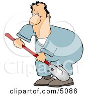 Man Digging Hole With Shovel Clipart