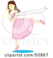 Royalty Free RF Clipart Illustration Of A Dancing Brunette Ballerina Girl Waving A Blank Banner by Cherie Reve