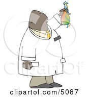 African American Scientist Holding Beaker With Chemicals Clipart