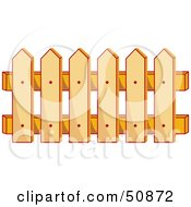 Royalty Free RF Clipart Illustration Of A Wooden Picket Fence by Cherie Reve