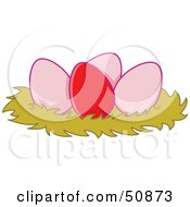 Royalty Free RF Clipart Illustration Of A Red Egg In A Nest With Three Pink Eggs