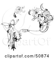 Royalty Free RF Clipart Illustration Of A Black And White Injured Fairy Reaching For Its Broken Wing by Cherie Reve