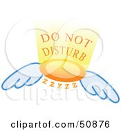 Royalty Free RF Clipart Illustration Of A Do Not Disturb Wing Sign by Cherie Reve