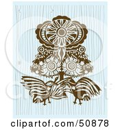 Royalty Free RF Clipart Illustration Of A Brown Cultural Design Of Birds Under A Hot Sun by Cherie Reve