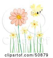 Single Happy Bee Flying Over Pastel Flowers